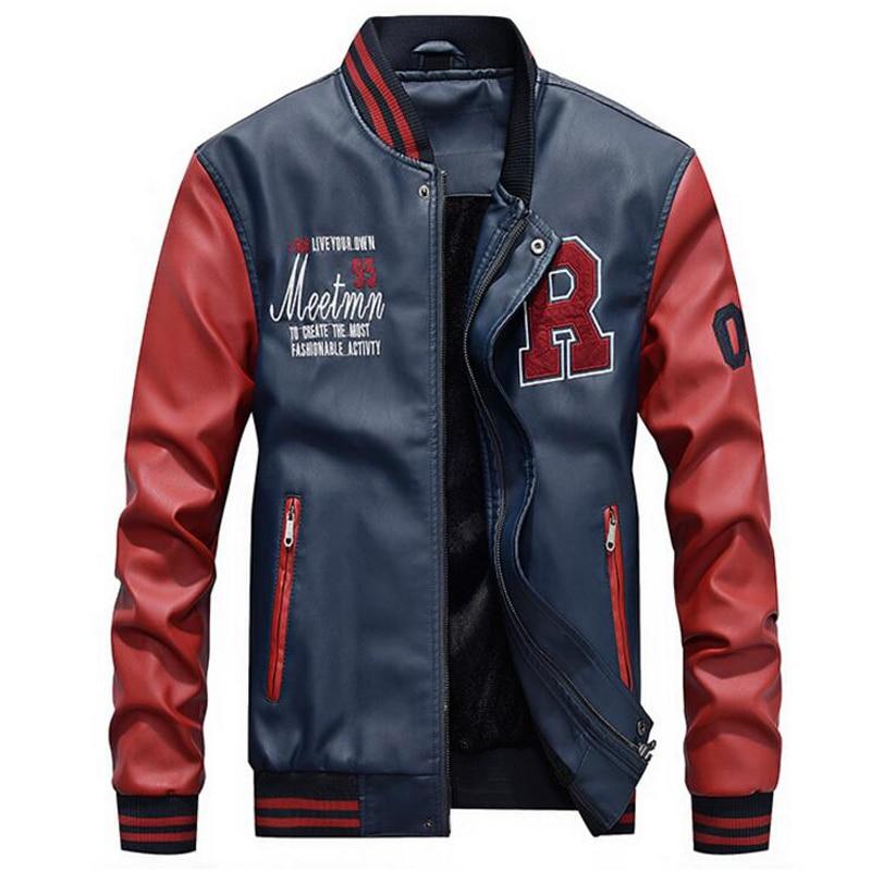 2018 Autumn Winter Motorcycle Leather Jacket Men Baseball Pu Faux Leather College Luxury Fleece Coats Pilot Leather Jackets 4XL