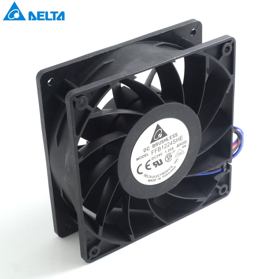 Free shipping 120*120*38mm  FFB1224SHE-BR00 12038 24V 1.20A wind turbine fan  for delta delta afb1212hhe 12038 12cm 120 120 38mm 4 line pwm intelligent temperature control 12v 0 7a