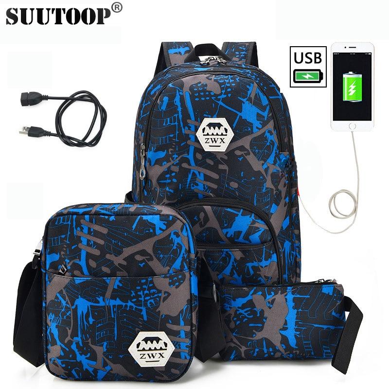 New Men's Nylon Usb Charge Backpacks College Female School 3 Set Backpack Large Bag Waterproof  Travel Bag Sac A Dos Pen Bag