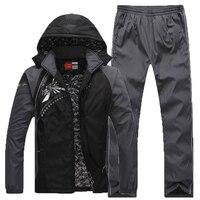 Keep Warm Sport Suit Men Fleece Lining Zipper Pocket Mens Sportswear Set Thermal Winter Outdoor Workout
