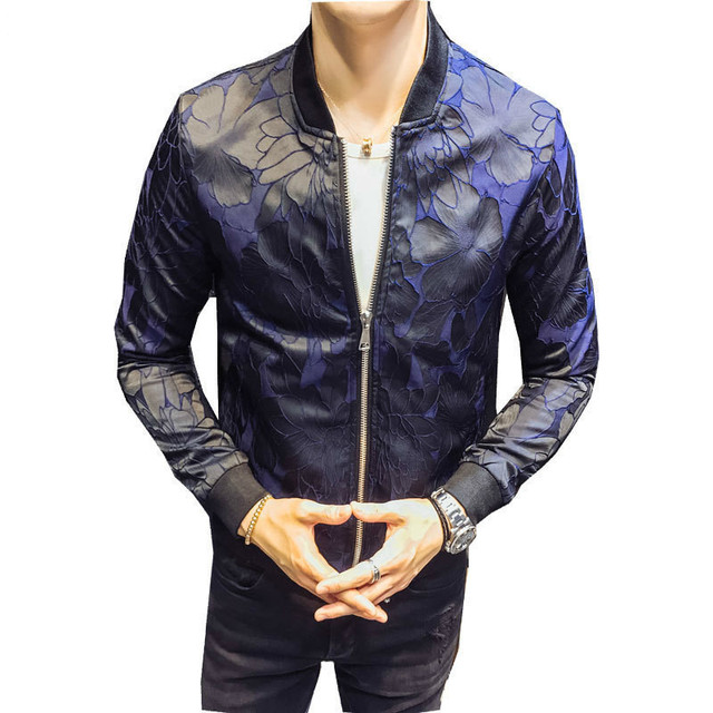 Royal Floral Jacket Patterns Blue Black 2018 Club Patty Baroque Bomber  Jackets Men Jacquard Club Outfit