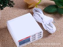 6 pcs USB travel Fast charger With LCD display Multipurpose charging socket