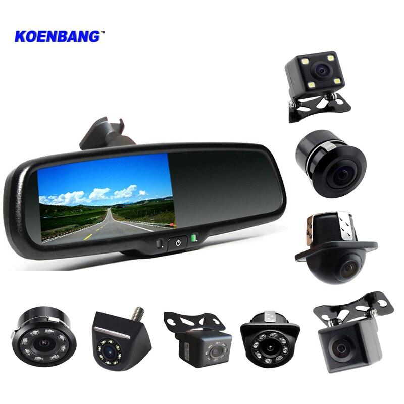 Nouveau rétroviseur de voiture 4.3 pouces TFT LCD moniteur caméra de recul Kit de stationnement 4 LED Vision nocturne voiture de recul arrière