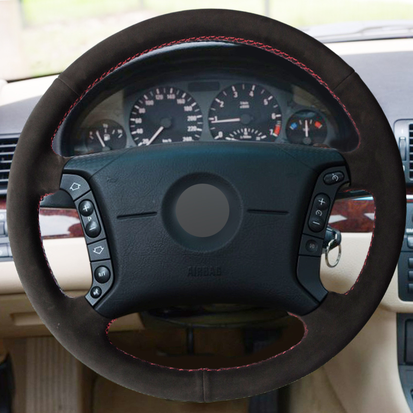 Black Suede Hand-stitched Car Steering Wheel Cover for BMW E46 318i 325i E39 E53 X5