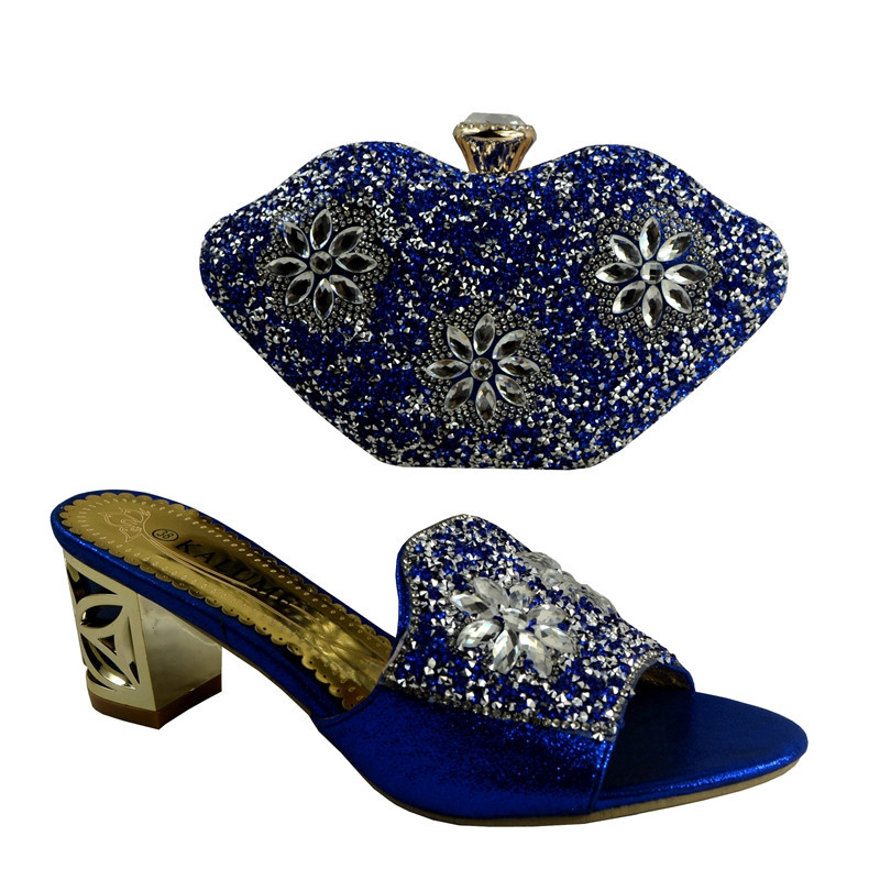 ФОТО African Shoes And Matching Bags Fashion Italian Shoes And Bag Set To Match High Quality Women Shoes And Bag Set Blue 1281
