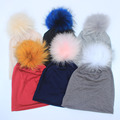 2017 New Spring Beanies Hats For Womens Soft cotton Polyester Slouch Beanies With Real Fur Pompom Hats For Ladies Oversize Hat