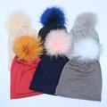 2017 Nueva Primavera Gorros Sombreros Para Mujer de Poliéster algodón Suave Sombreros Para Damas de Gran Tamaño Slouch Gorros Con Pompón De Piel Real sombrero