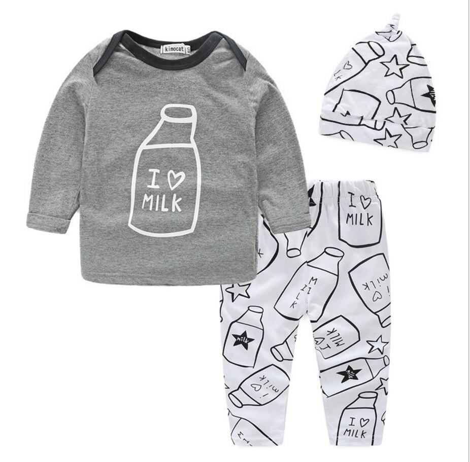Привередливый мальчиков Комплект из 3 предметов для маленьких девочек рожок одежда детей Бутик крышка + футболка + Штаны три штуки hb2118