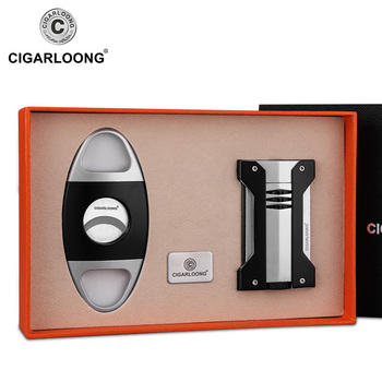 Cigar Lighter 2pcs Set Portable Windproof Lighter With Stainless Steel Sharpness Double-edge Cigar Cutter Gift Box Packed CB-05