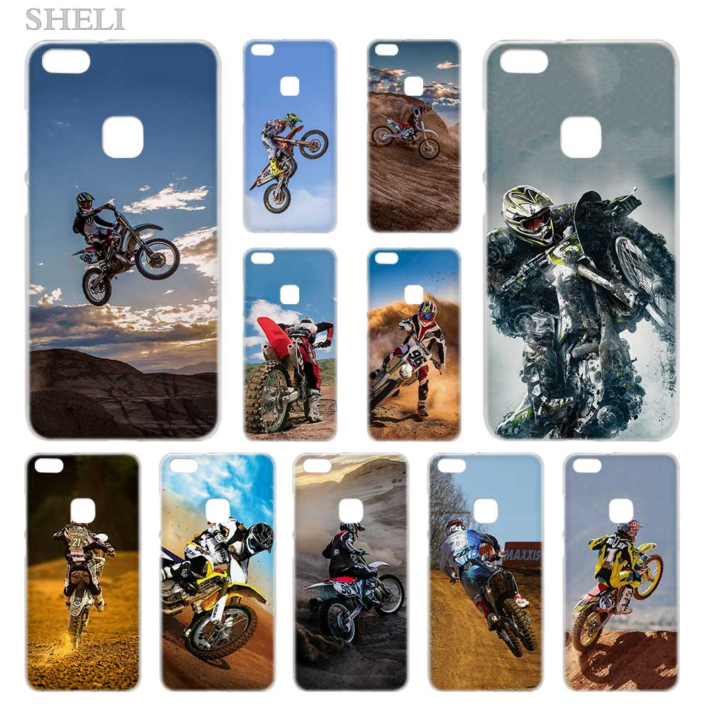 SHELI Motocross camo Transparent Hard Phone <font><b>case</b></font> cover for <font><b>Huawei</b></font> P8 <font><b>P9</b></font> P10 P20 P30 <font><b>Lite</b></font> Plus Pro 2017 image