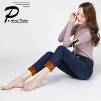 Women S Super Warm Thick Stretch Jeans Pants Winter Soft Fleece Denim Trousers Female Jeans Slim