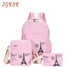 цены Women Fresh Canvas Backpack Bags Girl Students Bag With Purse 3pcs Set Backpacks High Quality School Back Pack For Teenager