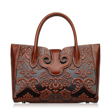 Famous brand top quality Cow Leather women bag Fashion handbags Retro embossed shoulder messenger bag