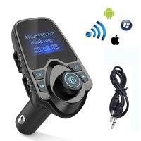 Bluetooth Car Kit משדר FM אלחוטי שיחה דיבורית נגן MP3 רדיו עבור iPhone 6 6 s 7 עבור סמסונג מתאם מטען לרכב USB