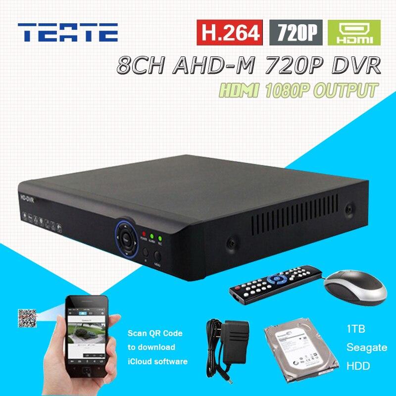 AHD 720P 8 channel 1mp 25fps real time recording HDMI 1080P 8ch CCTV System Hybrid H264 AHD-M recorder NVR 1TB HDD T-G08D7PB01H