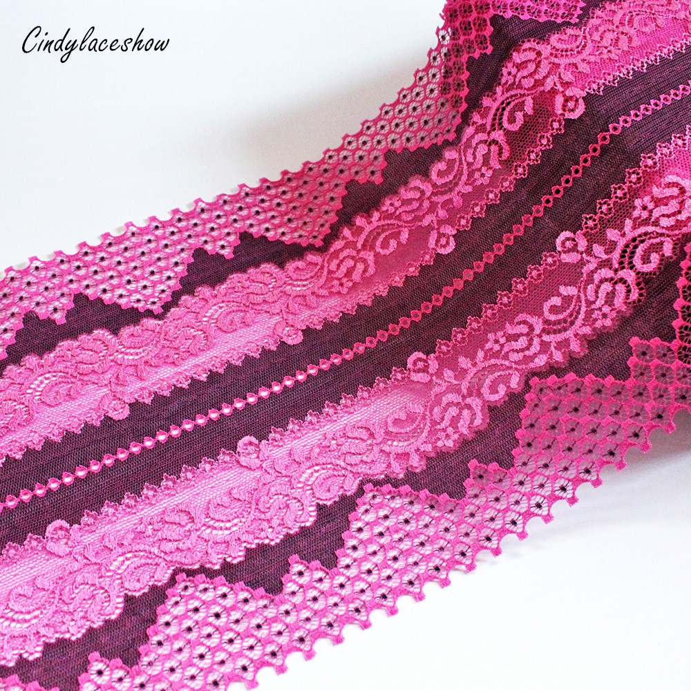 7.8 Wide Hot Red Black Elastic Embroidered Lace Trim Ribbon Fabric DIY Crafts Sewing Accessories Wedding Hair Ligeire Supplies