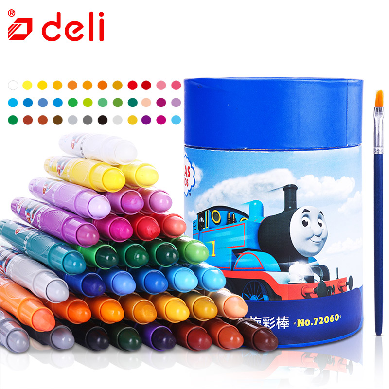 Deli Kids Oil Pastel Wax Crayon Thomas Safe Non-toxic Oil Pastel Candy Color Painting Stick Crayon 12/24/36 Colors One Box