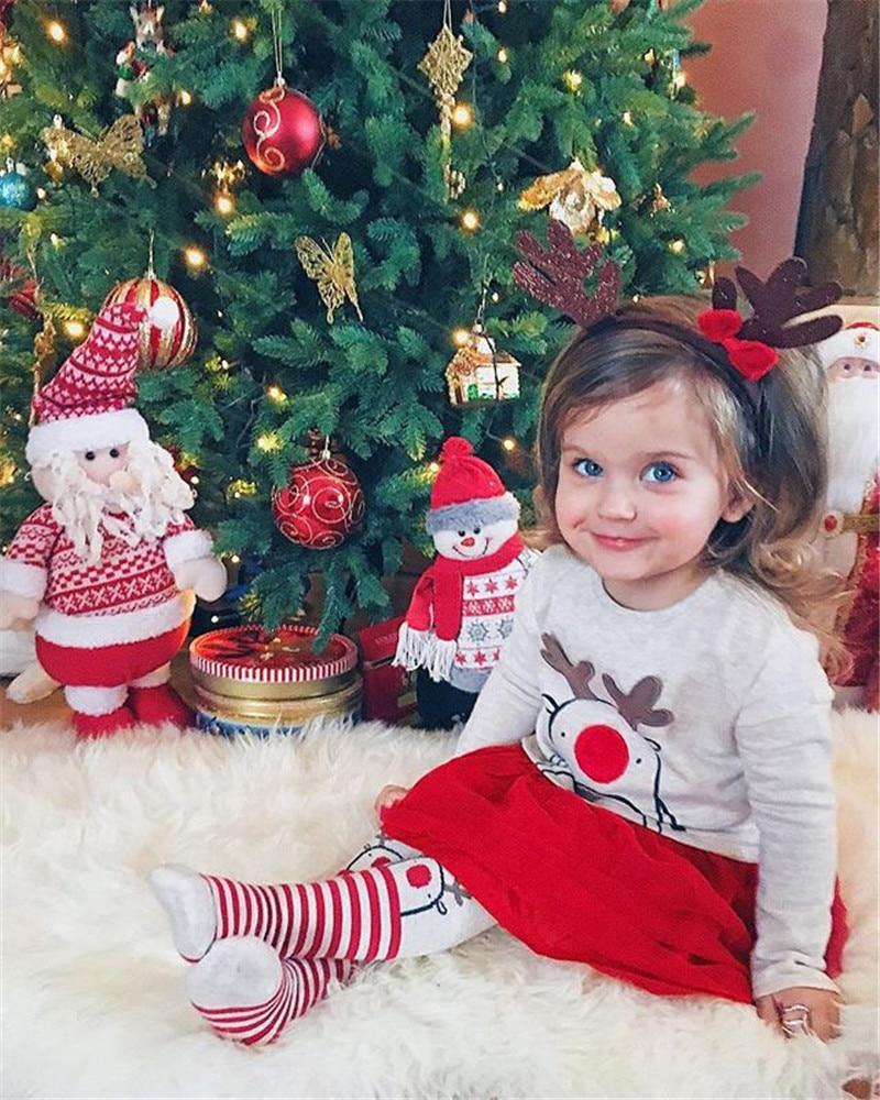 Tutu Pants Leggings Outfits Set Clothes Christmas Kids Baby Girls Reindeer Tops