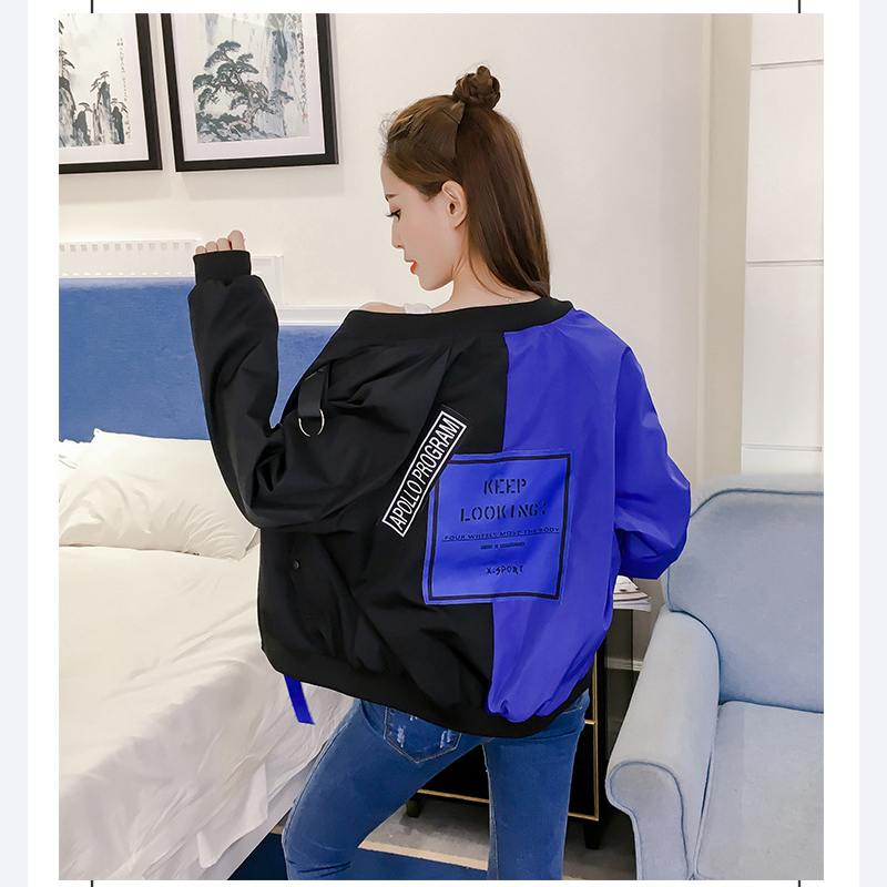 Feminina 2018 Blouson Nouvelle Chaude Coréennes Printemps Automne Tajiyane Vêtements Femme Mode Dames red white Zl139 Décontractés Jaqueta Blue dshQrxBotC