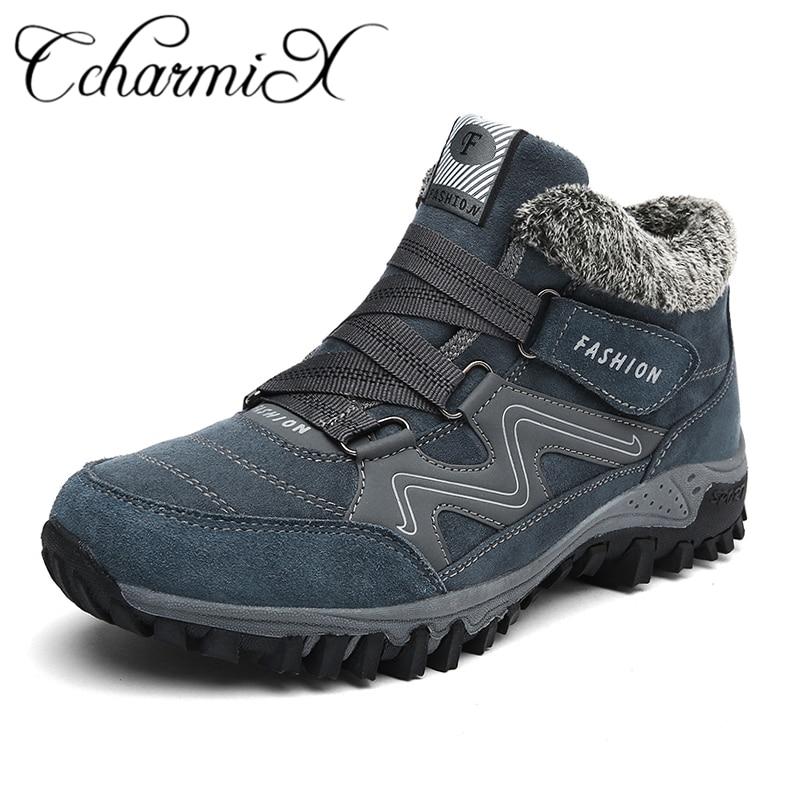 Купить CcharmiX мужские зимние ботинки на меху, коллекция 2018 года, теплые  зимние ботинки, мужские зимние ботинки, мужская обувь, модные повседневные  ре. 742fc1312ea