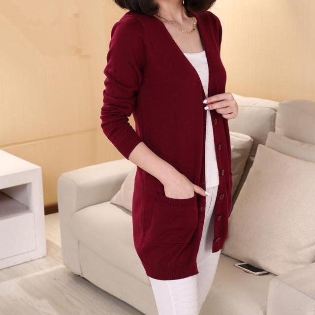 Cachemira de la Rebeca femenina medio-largo suéter Tejido de Lana suelta de manga larga más tamaño suéter caliente Para la mujer