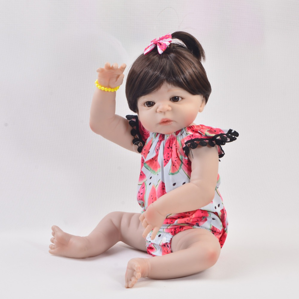 Fun Lifelike Silicone Body Reborn Baby Menina Alive Newborn Baby Dolls Non Toxic Vinyl Gifts For Girls Kids Toy With 1pcs Bottle