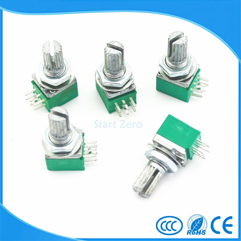 10pcs RK097G 15mm Audio Amplifier Sealed Dual Potentiometer B5K B10K B20K B50K B100K 6pins
