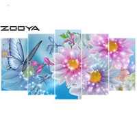 ZOOYA 3d Needlework Diamond Painting Home Decor Diamond Embroidery All Drill Rhinestone Mosaic Pictures Flower Butterfly