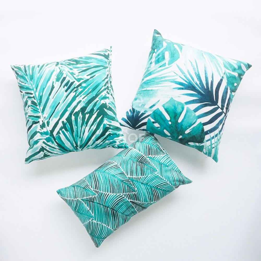Decorative Throw Lumbar Pillow Case Pink Flamingo Green Fronds Palm Leaf Velvet Tropical Cushion ...