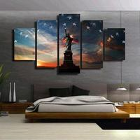 Liberty Flag Multi 5 Panel Wall Art Print Oil Paintings Home Decoration Living Room Canvas Painting