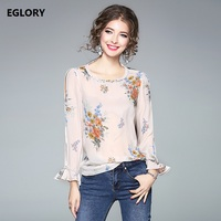 New Tops Fashion Blouses 2018 Spring Summer Women Floral Print Flare Sleeve Casual Silk Tops T
