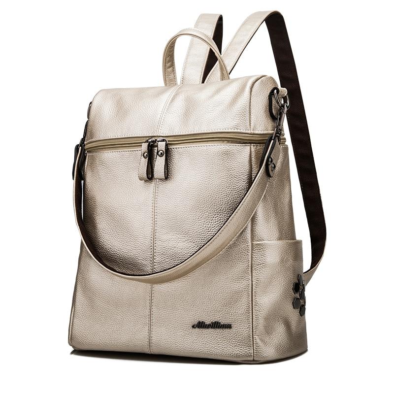 db34be3b463f Női hátizsák bőr tiszta színes iskolai alkalmi nagy kapacitású ...