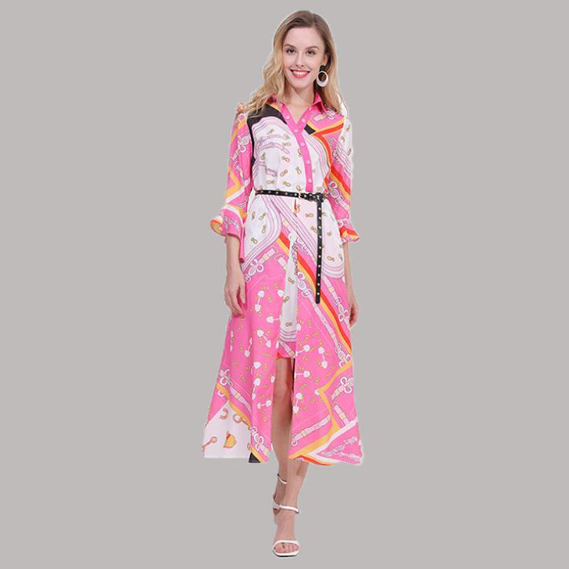 High Quality Women 39 s Dresses 2019 Spring Summer New Amazing Creative Models Bohemian Temperament Lapel Lacing Ladies Large Dress in Dresses from Women 39 s Clothing