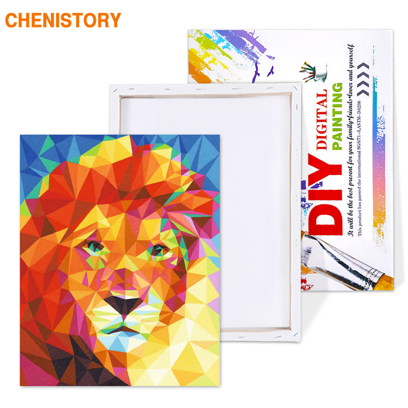 HTB1t9LKXq1s3KVjSZFtq6yLOpXai CHENISTORY Pre-Framed Lion DIY Painting By Numbers Animal Modern Wall Art Picture Acrylic Paint On Canvas For Home Decor Artwork