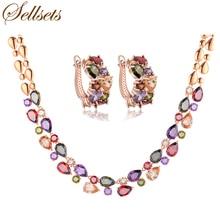 Sellsets высокое качество комплект ювелирных изделий розовое золото цвет многоцветный цирконий рождественские подарки для женщин