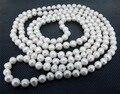 Perfeito mulheres jóias, Barroco 48 polegadas branco cultivadas de água doce pérola colar AA 6 MM Real jóias