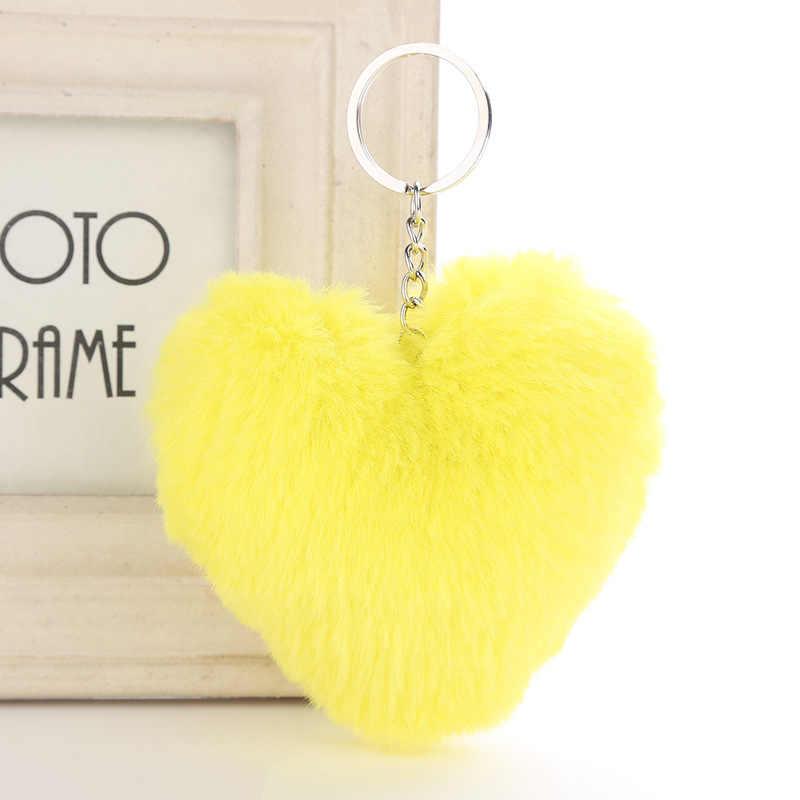 Fofo Fur Pompom Keychain Macio Forma de Coração Cor Sólida Faux Pele De Coelho Bola Pompom Bolsa do Presente do Anel Chave Do Carro Acessórios