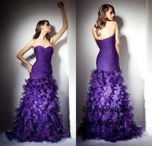 Exquisite liebsten layered lila Rüschen organza lange abendkleider Meerjungfrau Lange Abendkleid vestidos fiesta cortos