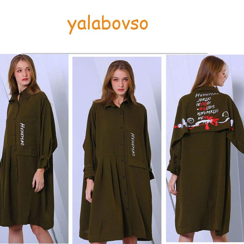 2019 nouveau automne printemps à manches longues noir Amy vert OL lâche irrégulière longues chemises mode plissée ourlet chemise robe femmes A0AZ40