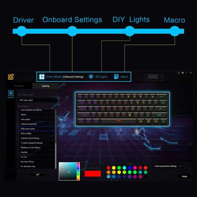 GK61 61 Key USB Wired LED Backlit Axis Gaming Mechanical Keyboard For Desktop Jy17 19 Dropship 3