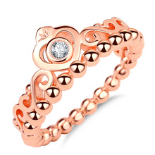 Hot Sale Rose Gold color Ring Princess Tiara Royal Crown With Crystal Rings For Women Wedding Party Gift Fine Jewelry