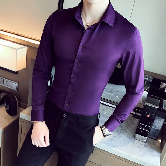 Business Shirts 2018 New Fashion Brand Clothing Mens Long Sleeve Work Shirt Elastic Slim Fit Shirt Big Size S-5XL Casual Shirt 2