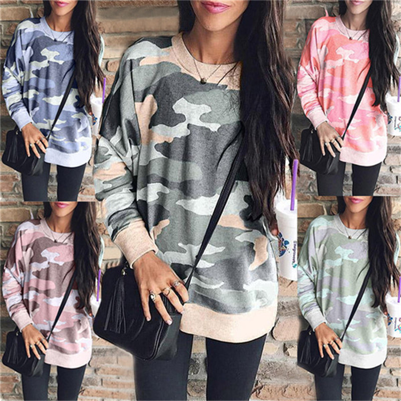 Spring Autumn Camo Print Long Sleeve Sweatshirts S-5XL Plus Size Women Clothing Loose Tops O-Neck Casual Large Size Sweatshirt
