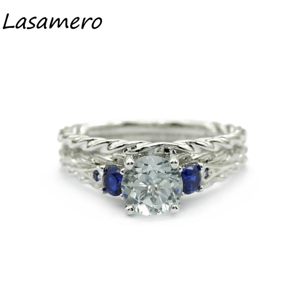 LASAMERO Rings for Women 0.85CT Round Cut Natural Aquamarine Rings 925 Silver Engagement Wedding Rings