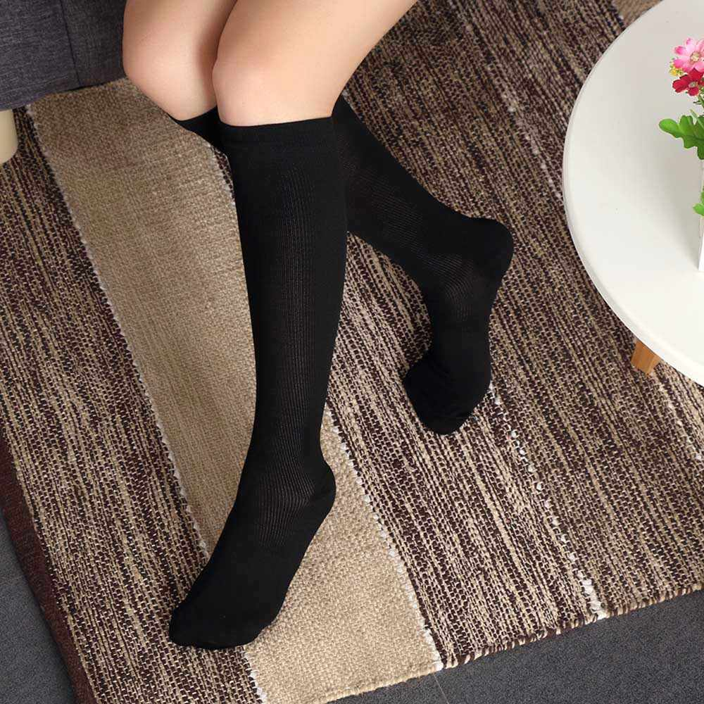 f3984f81321 1Pair Unisex Women Men Compression Socks Flight Travel Anti-Fatigue Knee  High Long Socks women