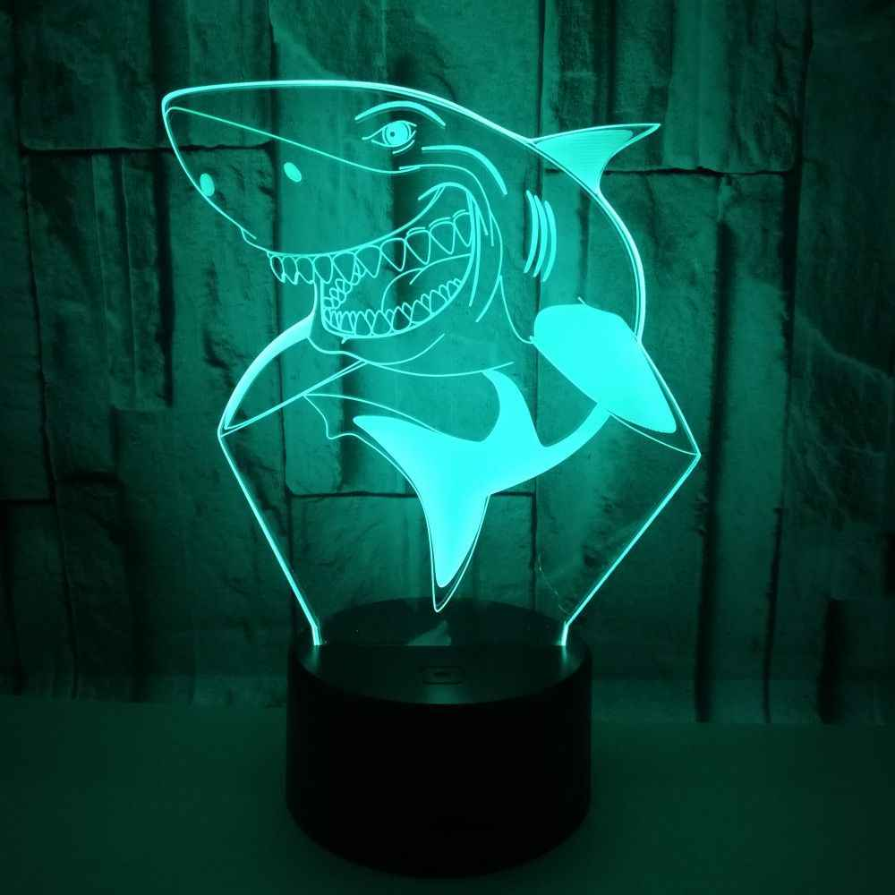 Shark 3d Night Lights Colorful Touch Remote controlled Led Vision Moderne Desk Lamp Lights Gift Atmosphere Table Lamps