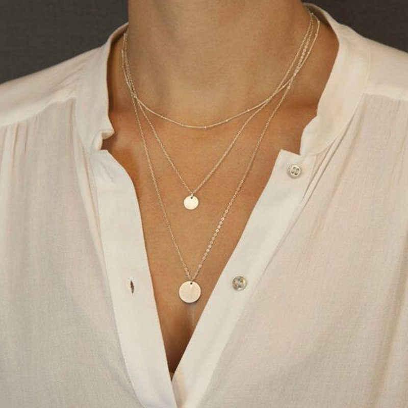 Wielowarstwowe złoto moneta Choker naszyjnik dla kobiet okrągły kryształ wisiorek gwiazdy Chain naszyjniki wisiorki Chokers biżuteria