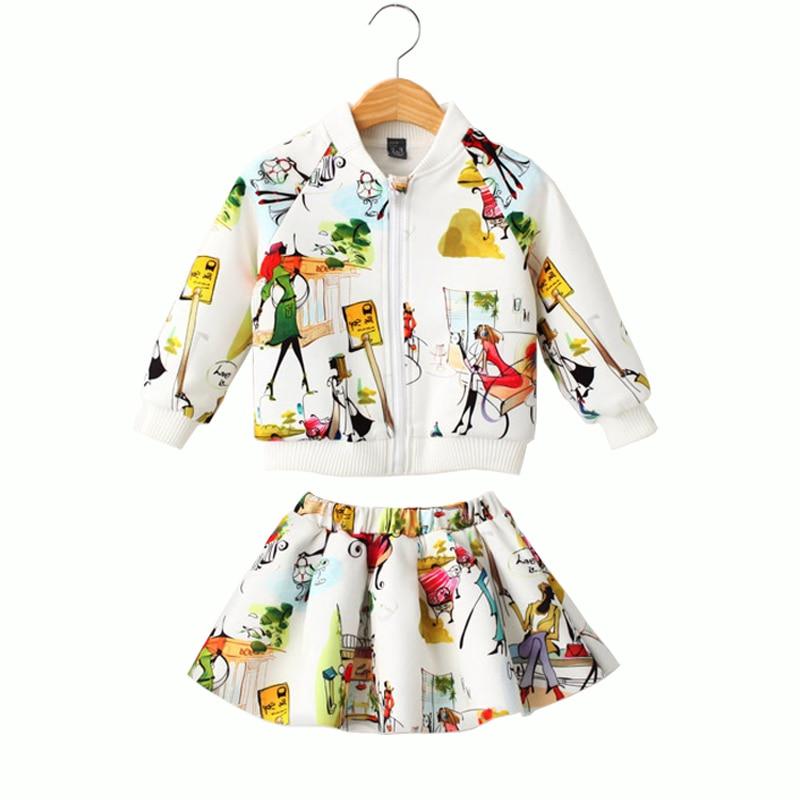 887f10c83 جديد 3-8 طن الخريف الربيع الفتيات الملابس مجموعات الأزياء فتاة الكتابة على  الجدران نمط تنورة + طويلة الأكمام سترة القطن الأطفال مجموعة