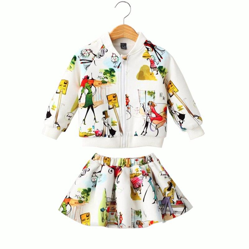 b97fbadc68ea5 جديد 3-8 طن الخريف الربيع الفتيات الملابس مجموعات الأزياء فتاة الكتابة على  الجدران نمط تنورة + طويلة الأكمام سترة القطن الأطفال مجموعة