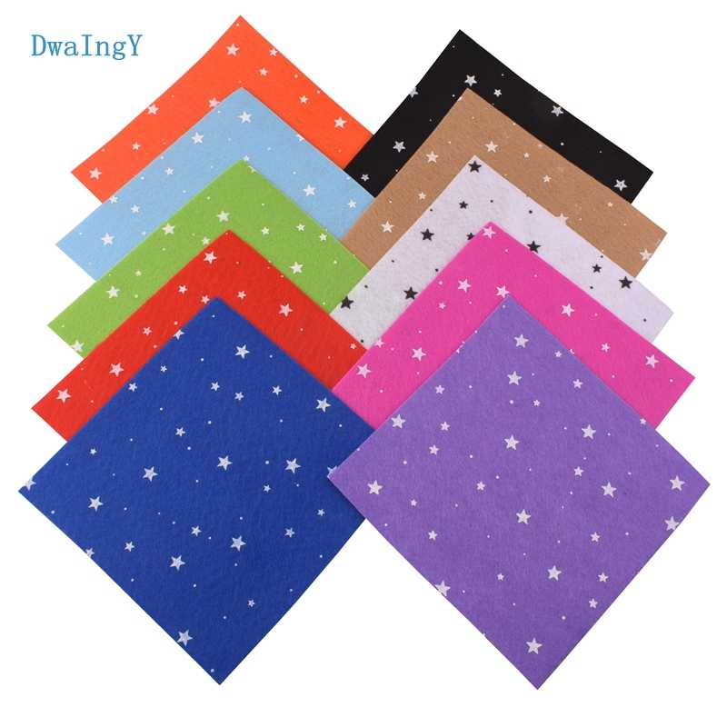 DwaIngY Printed Star Non Woven Felt Fabric 1mm Thickness Polyester Cloth Sewing Dolls Crafts Home Decoration Pattern 10pcs15x15c